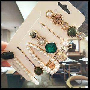 6pcs/set pearl crystal hairpin clips